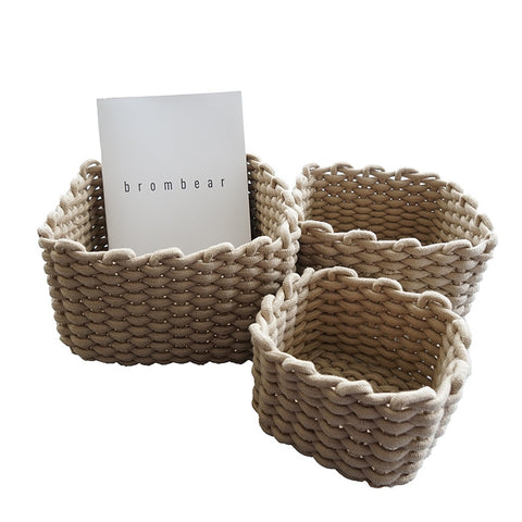 Hand-woven Thick Cotton Rope Storage Baskets