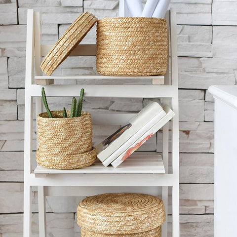 3 Pcs/Set Handmade Woven Basket With Lid