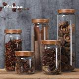 Glass Storage Jars  with Wooden Lid
