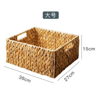 Rattan Straw Rectangular Storage Basket