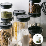Glass pantry Storage Containers with Black Lids