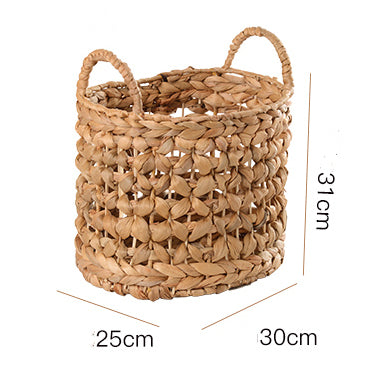 Hand-woven Straw Basket with semicircular handles