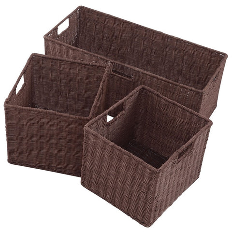 3 pcs Nesting Rattan Baskets