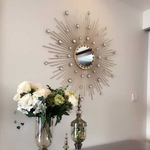 Wrought Iron Diamond Flower Mirror