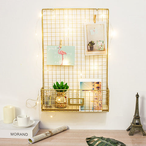 Nordic Style Gold Iron Grid Storage Rack