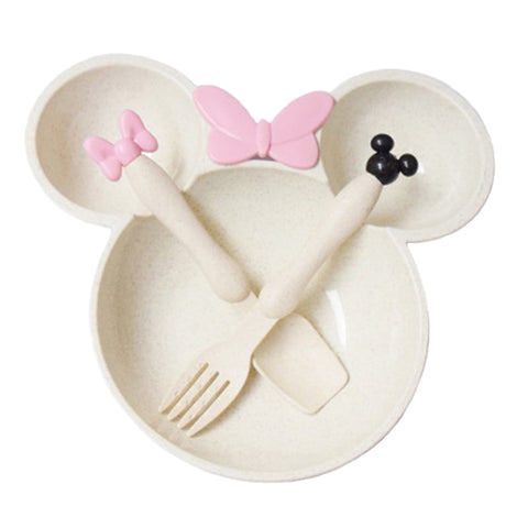 3 Pcs/Set Wheat Straw Baby Mickey Mouse Tableware