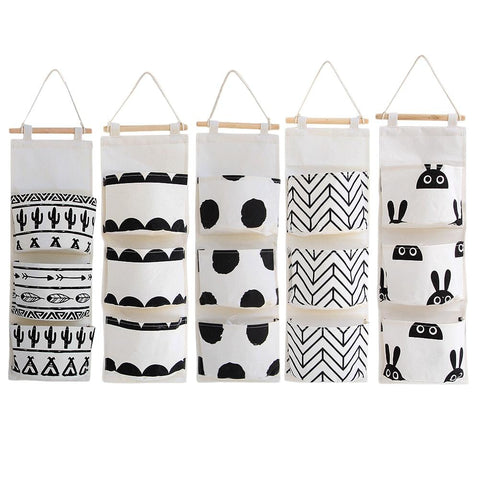 Black&White 3 Pockets Wall Organizer