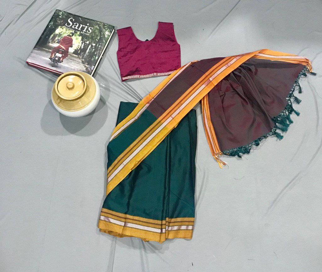 Girl's Dark Green Khunn Ready To Wear Sari - WEAR COURAGE