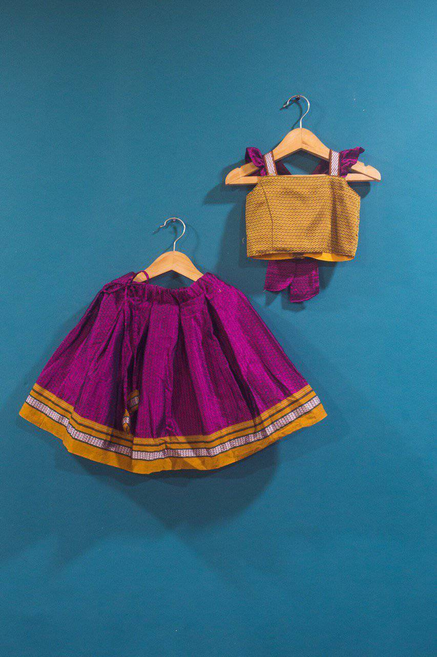 Girls Pink and Yellow Ochre Khunn parkar polka with frill sleeves