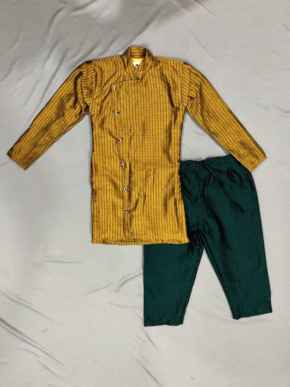 Boy's Yellow Ochre Khunn Kurta and Peacock Green Khunn Pant - WEAR COURAGE