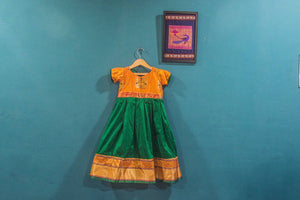 Girls Yellow and Green Paithani frock