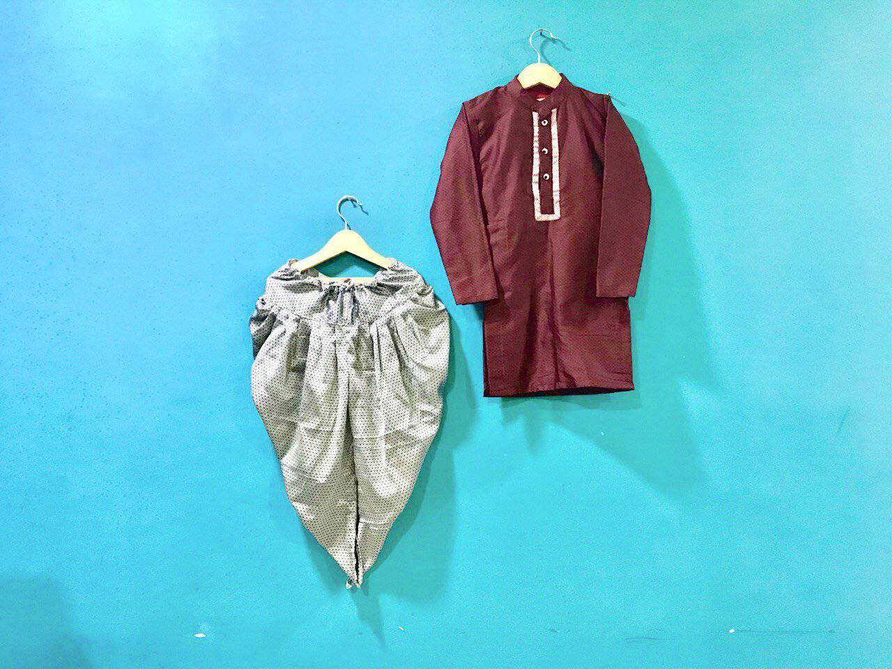 Boy's Maroon Khunn Kurta and Grey Khunn Dhoti