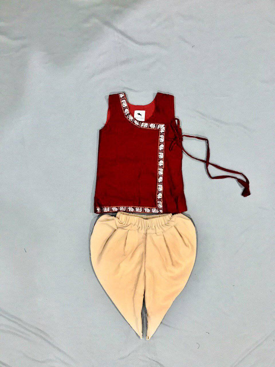 Boy's Maroon Khunn Angarkha with Cream Dhoti - WEAR COURAGE