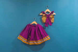 Girls Pink and Yellow Ochre Khunn parkar polka with frill sleeves - WEAR COURAGE