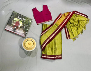 Girl's Parrot Green Khunn Ready To Wear Sari - WEAR COURAGE