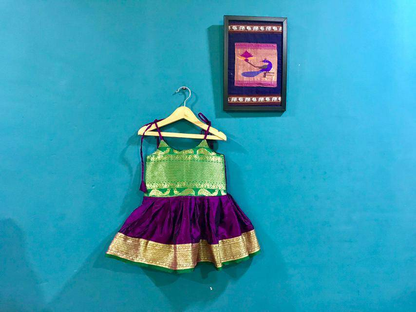 Purple Paithani frock with tieups