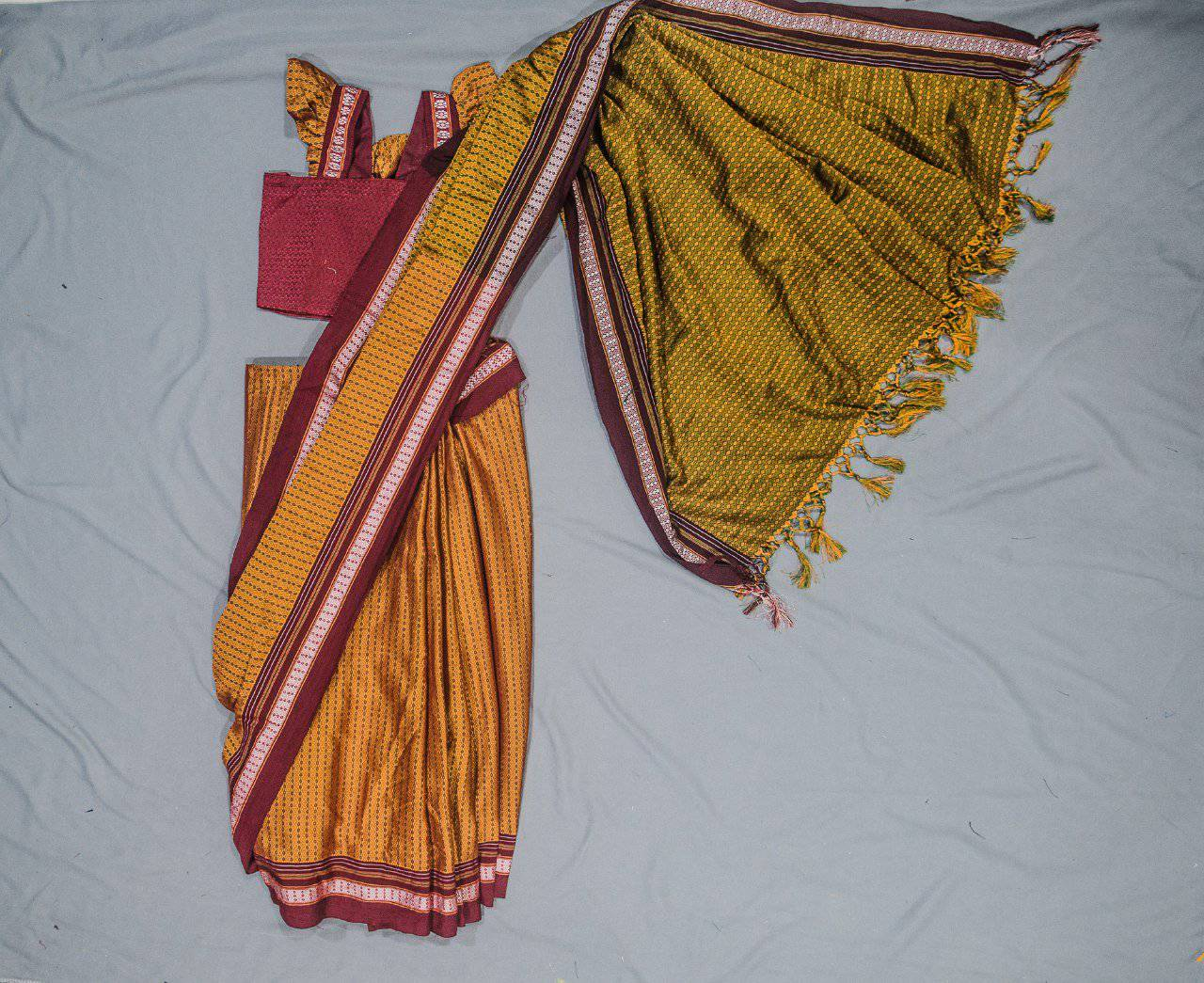 Girl's Yellow Ocher Khunn Ready To Wear Sari - WEAR COURAGE