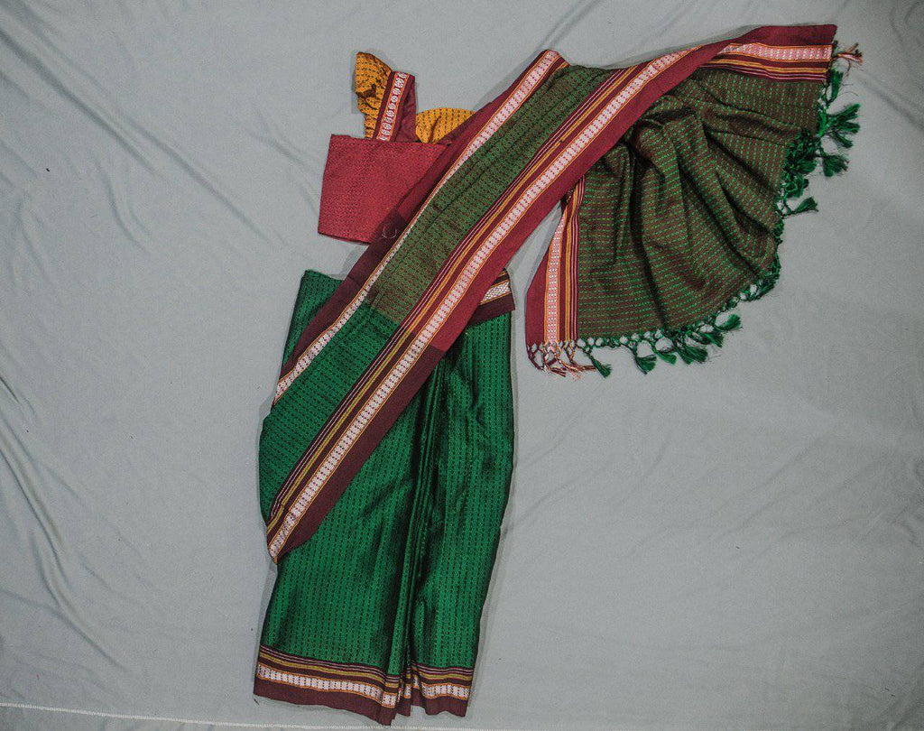 Girl's Green Khunn Ready To Wear Sari - WEAR COURAGE