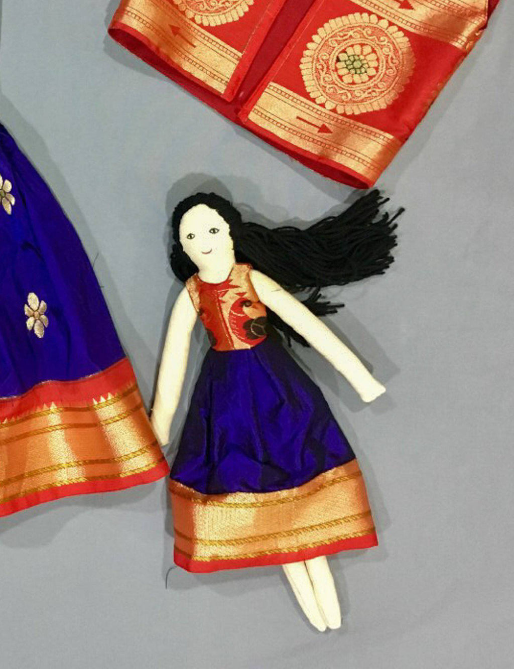 Kids fabric doll with blue paithani frock - WEAR COURAGE