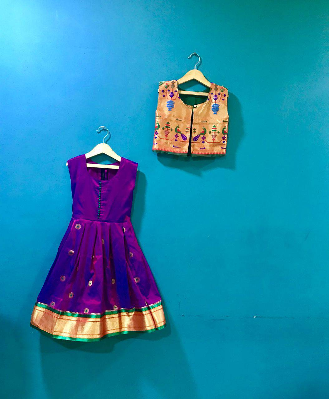 Girls purple paithani frock with jacket - WEAR COURAGE