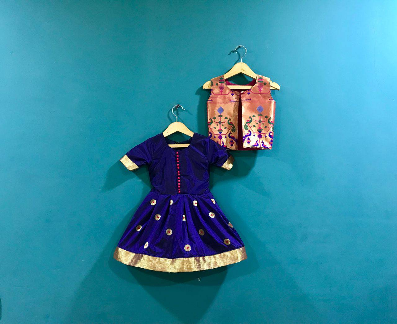 Girls Blue Paithani frock with  Pink Jacket