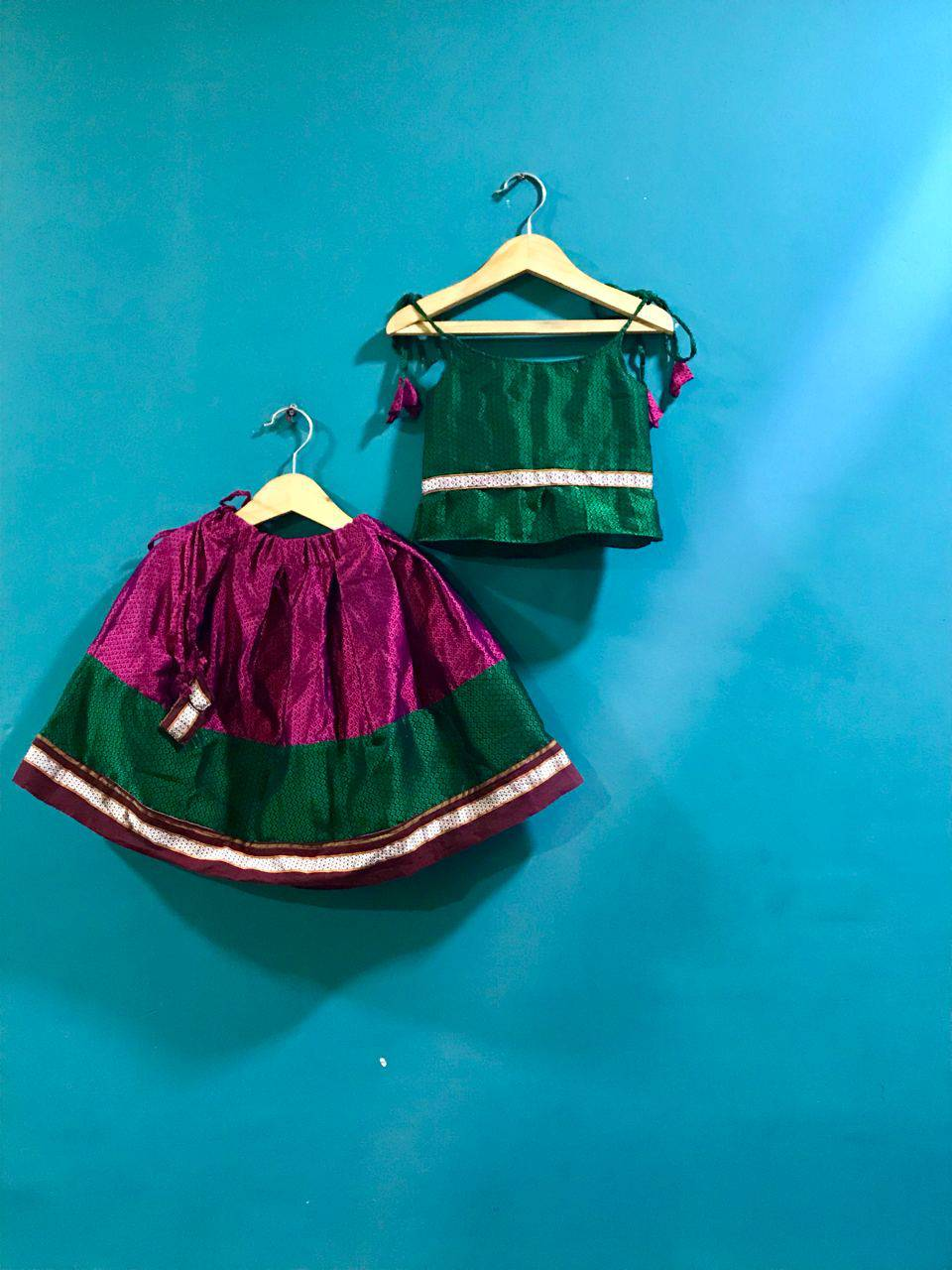 Girls Green and Pink Khunn parkar with spaghetti top
