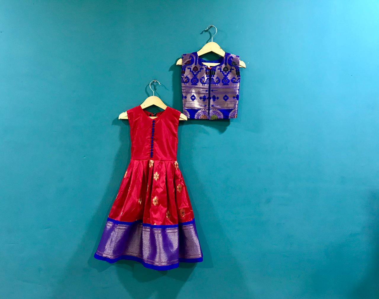 Girls Red Paithani frock with  Blue Jacket