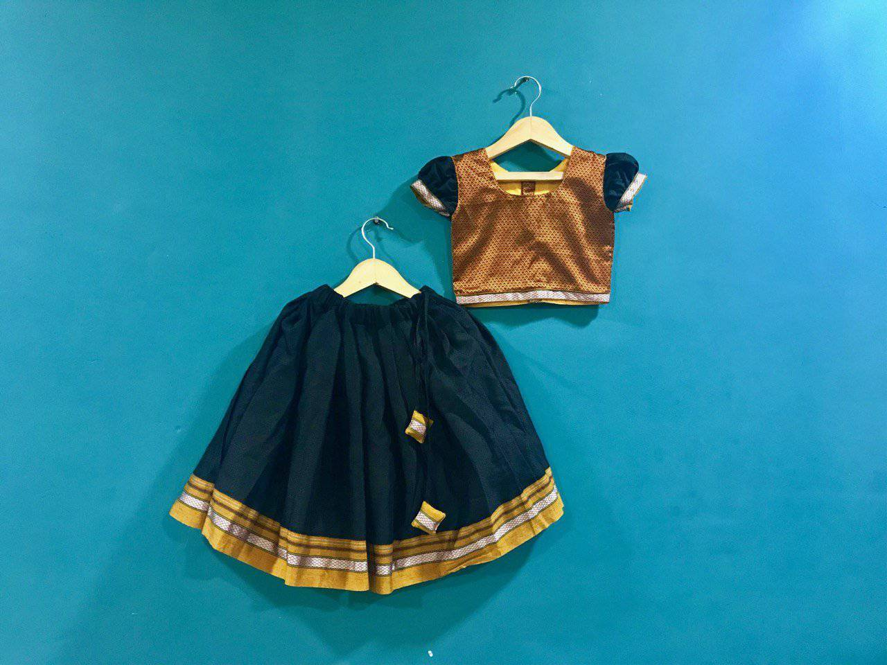 Girls Mustard and Black Khunn parkar polka with frill sleeves