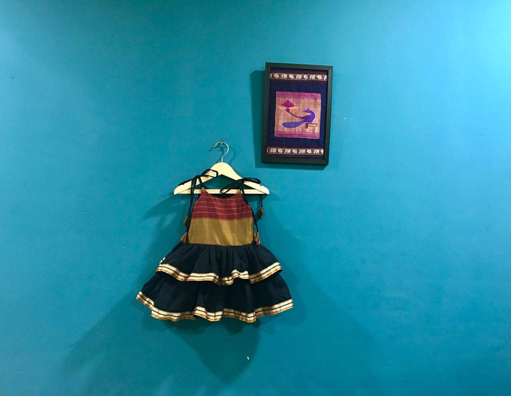Girls Black frill Spaghetti Ilkal frock - WEAR COURAGE