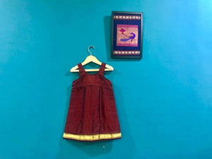 Girls Maroon Khunn frock with strap