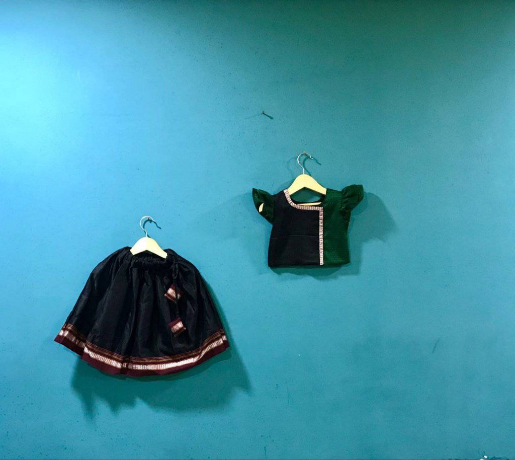 Girls Black and Green khunn parkar polka and Maroon Border - WEAR COURAGE