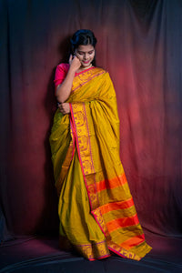 Mustard Green Cotton Silk Ilkal Saree with Elephant Border