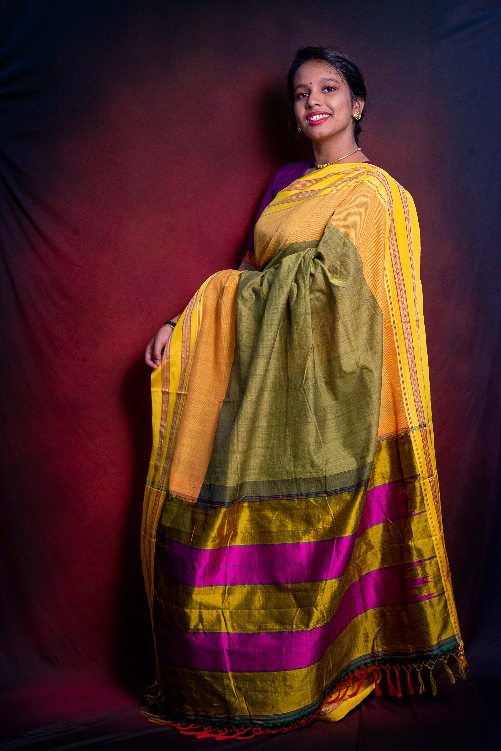 Handloom Mustard Green Premium Cotton Ilkal Saree