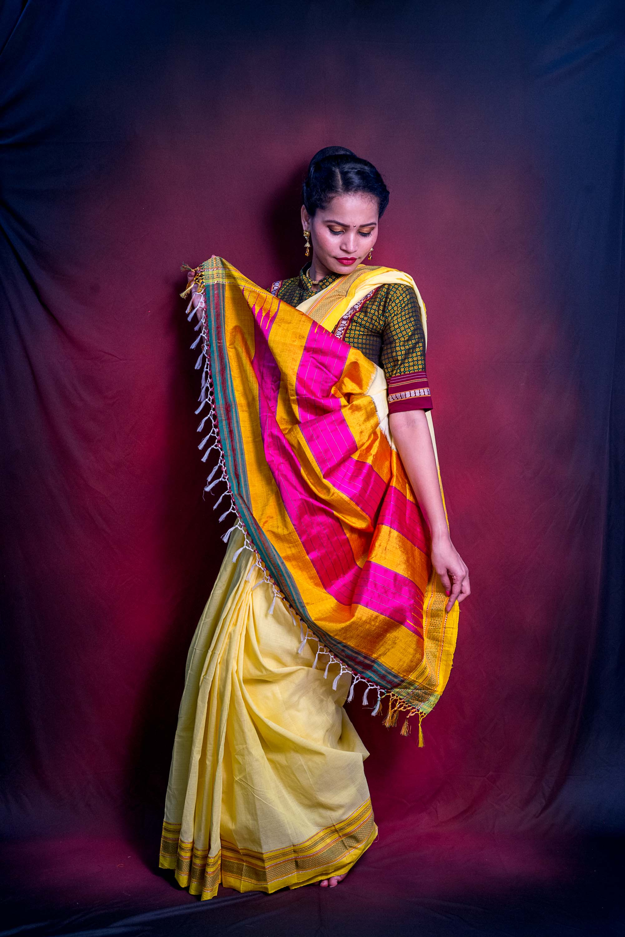 Handloom Pastel Yellow Premium Cotton Ilkal Saree
