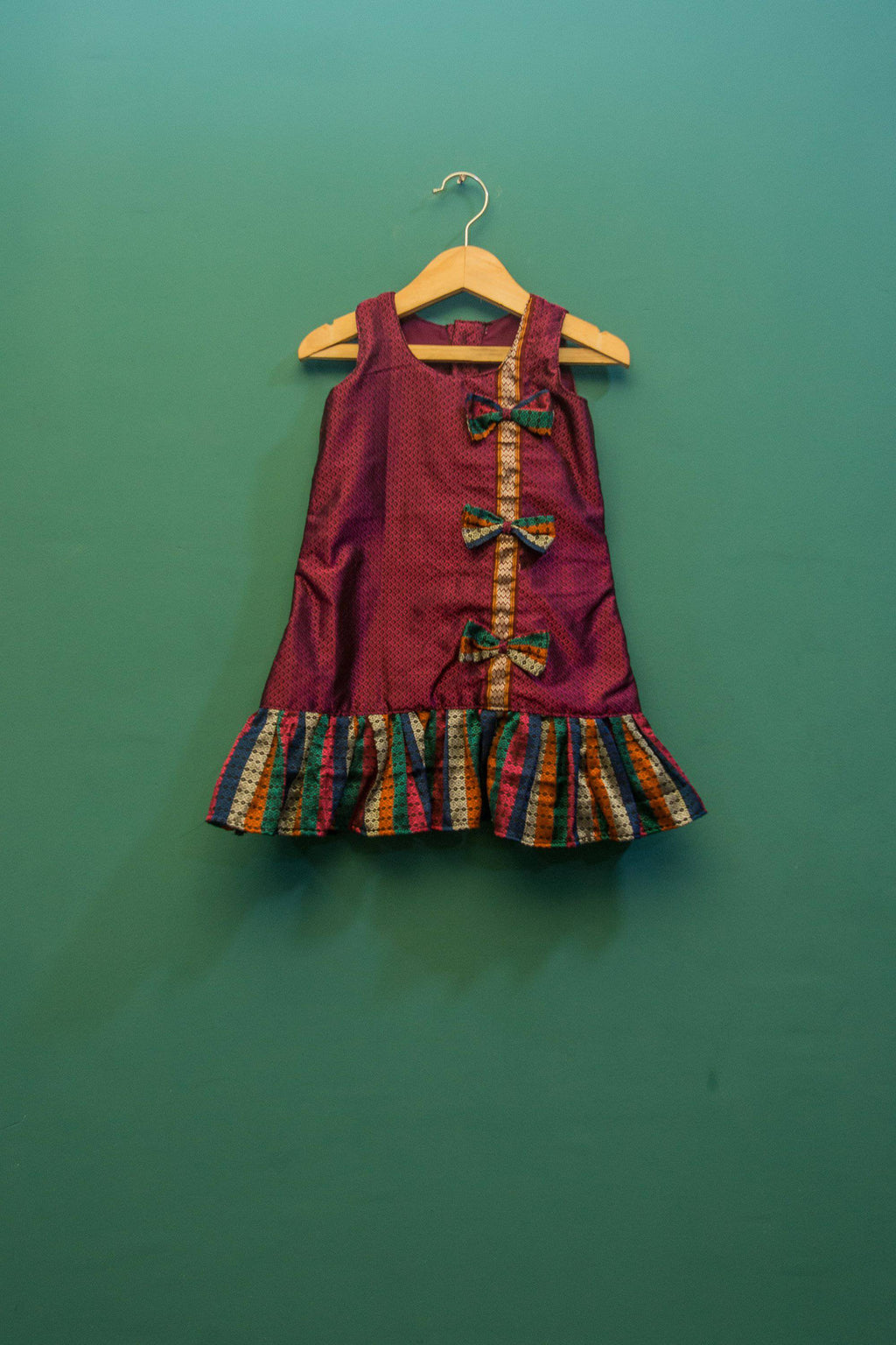 Girls Pink Khunn frock with bow and frill - WEAR COURAGE