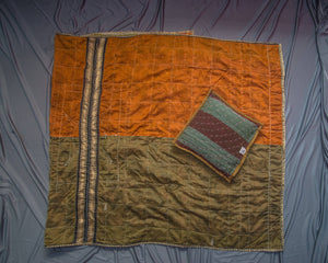 Orange-Green Godhadi Quilt with Hand stitch Godhadi art cushion cover combo