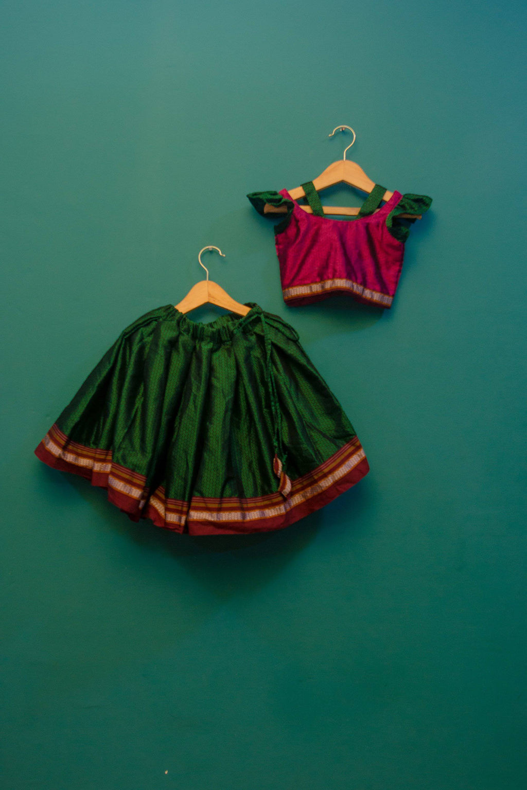Girls Pink and Green Khunn parkar polka with frill sleeves - WEAR COURAGE