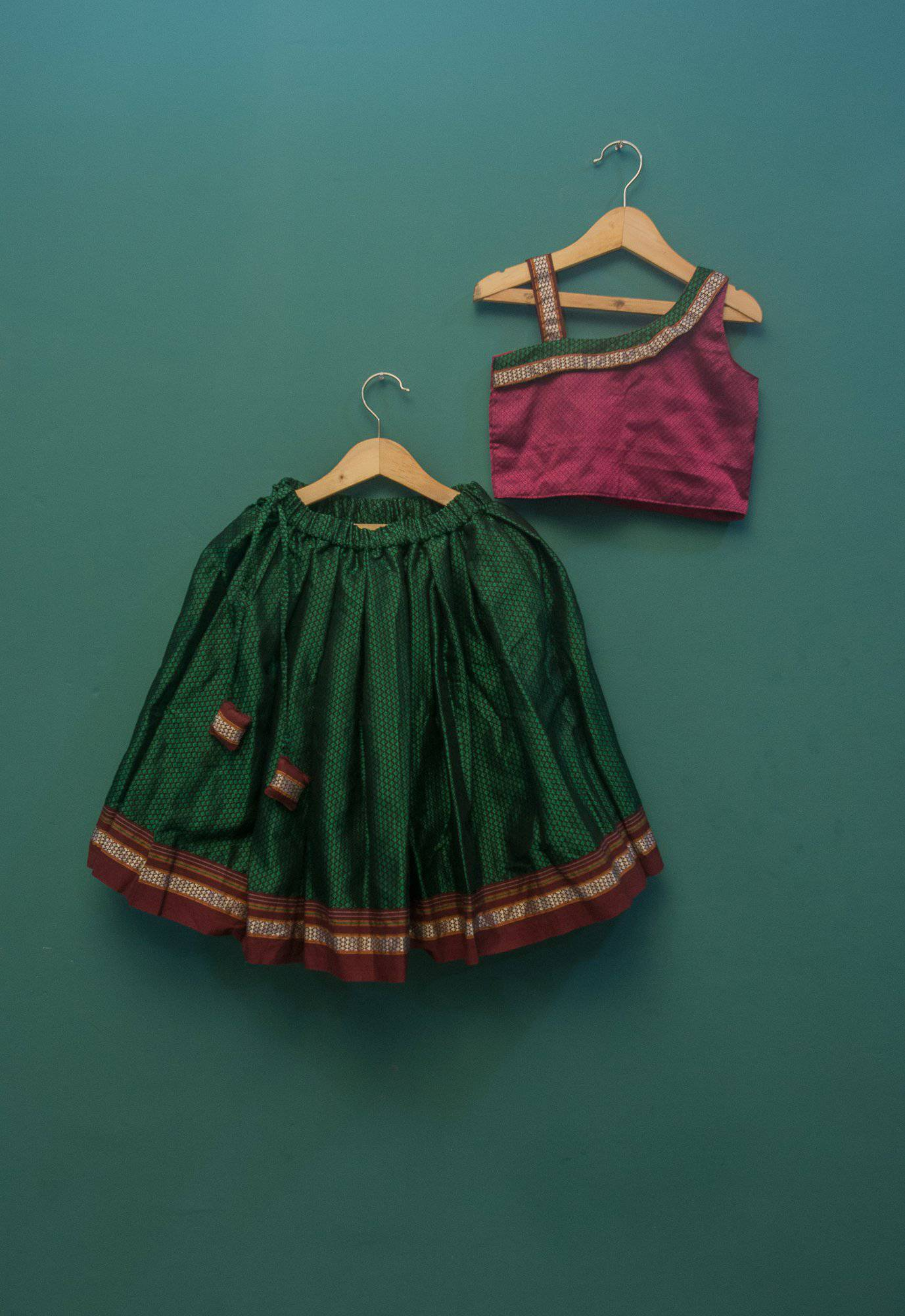 Girls Pink and Green Khunn parkar polka with  one off shoulder