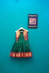 Girls green paithani frock with jacket