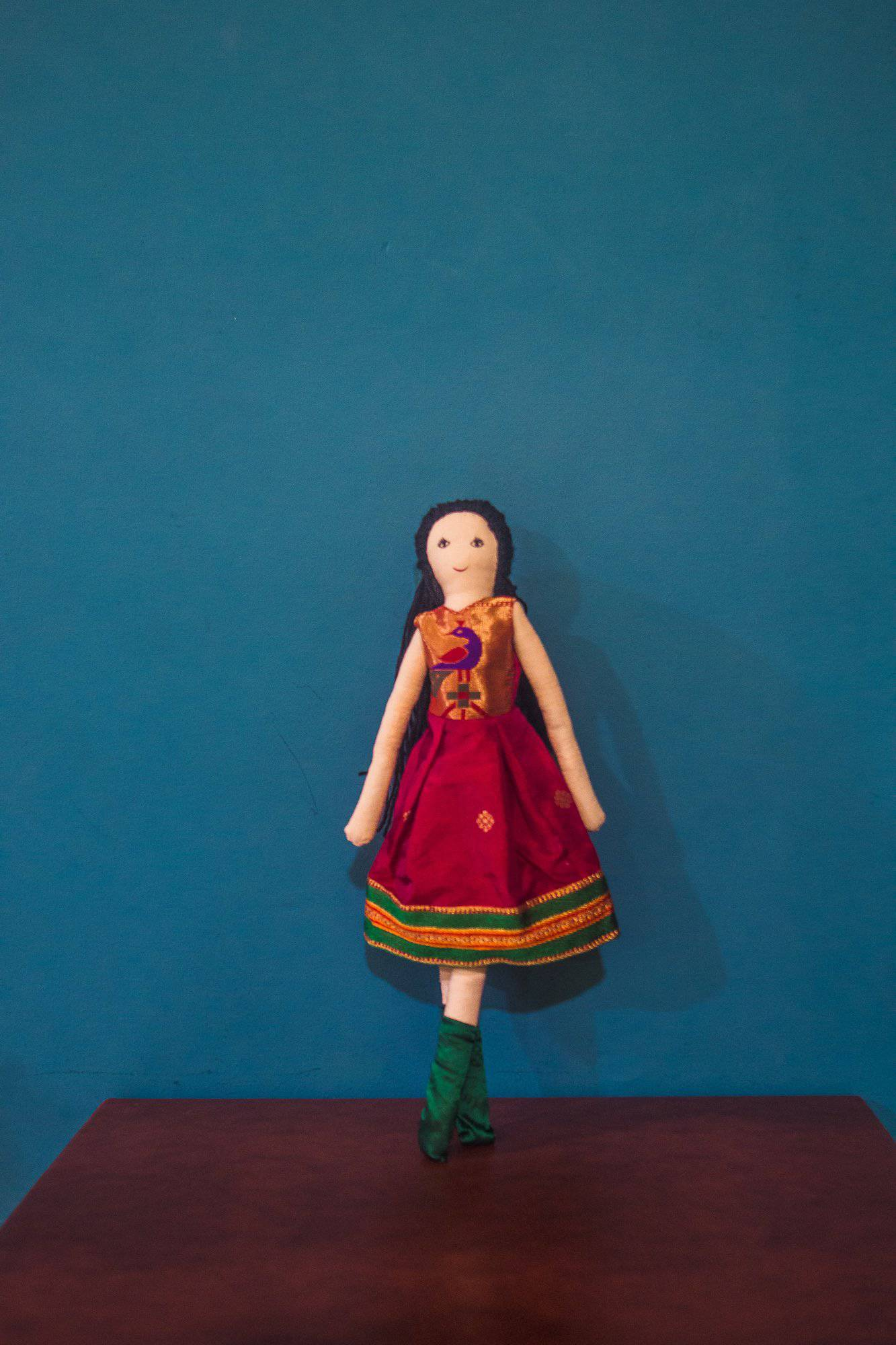 Kids fabric doll with rich red Paithani frock