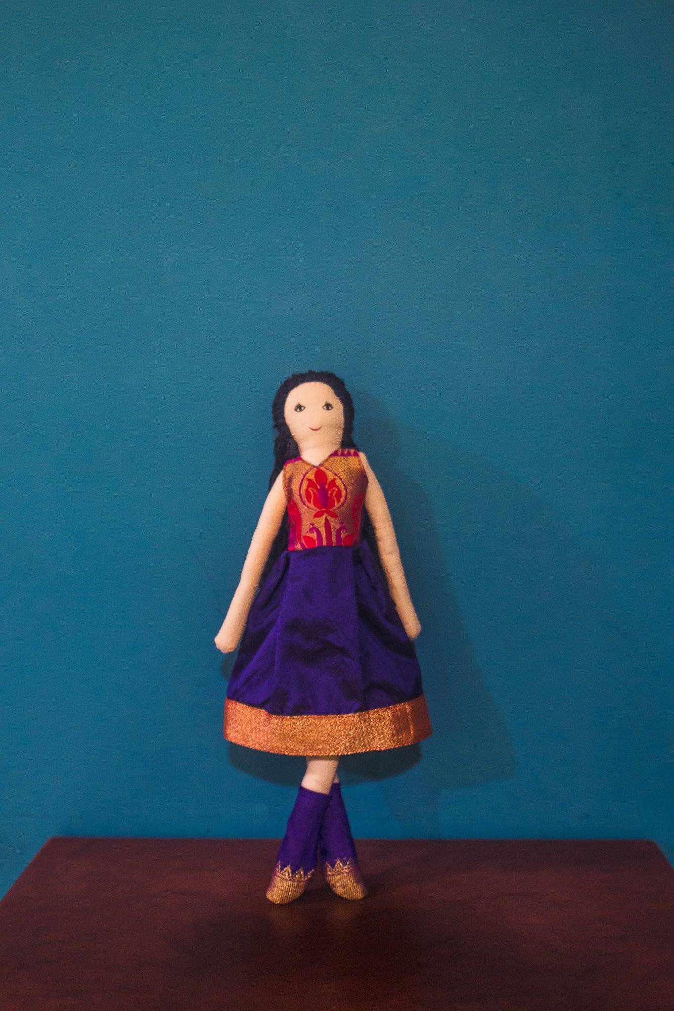 Kids fabric doll with rich blue paithani frock
