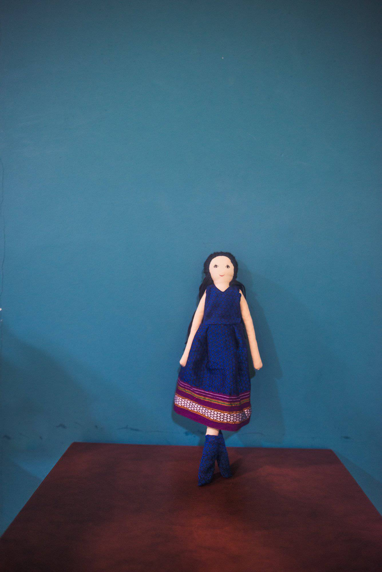 Kids fabric doll with rich blue khunn frock