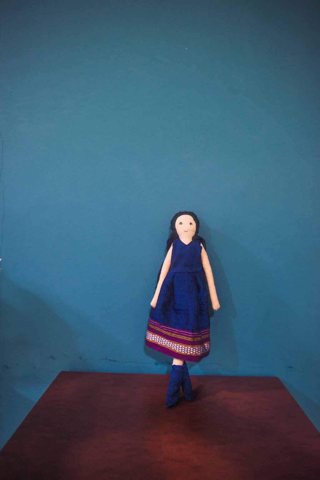 Kids fabric doll with rich blue khunn frock - WEAR COURAGE