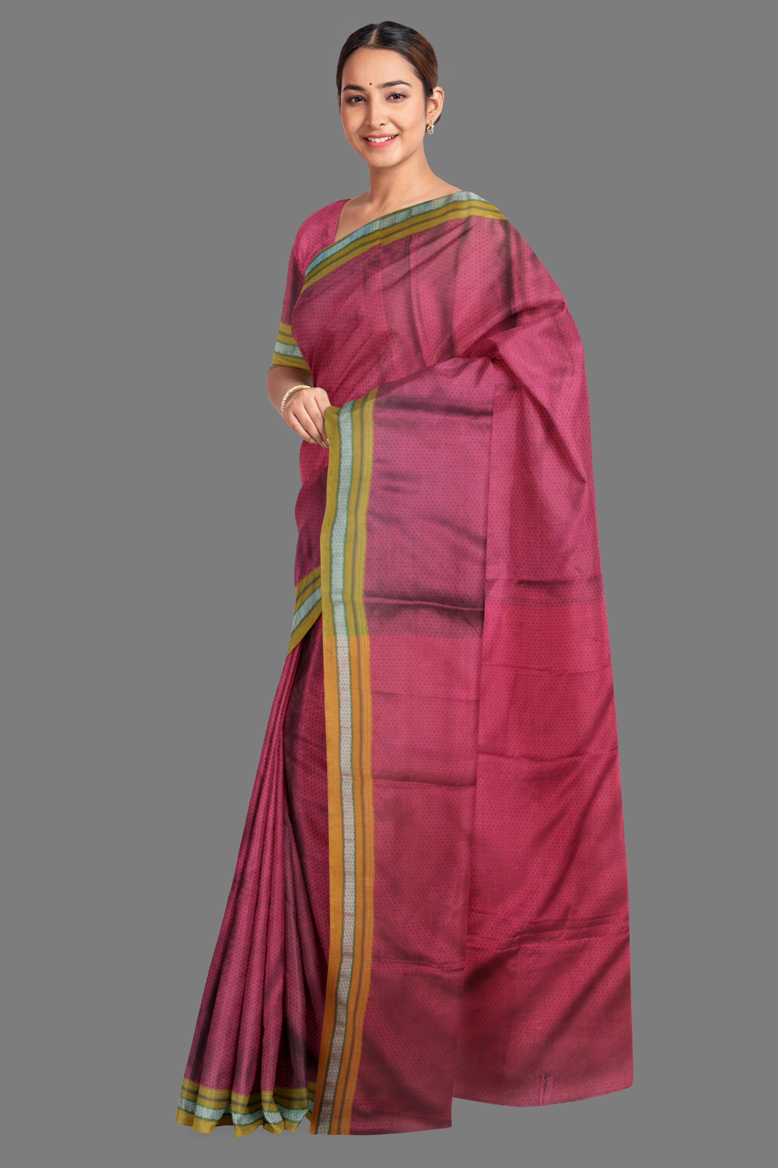 Women's Pink Khunn Saree with Mustard Border