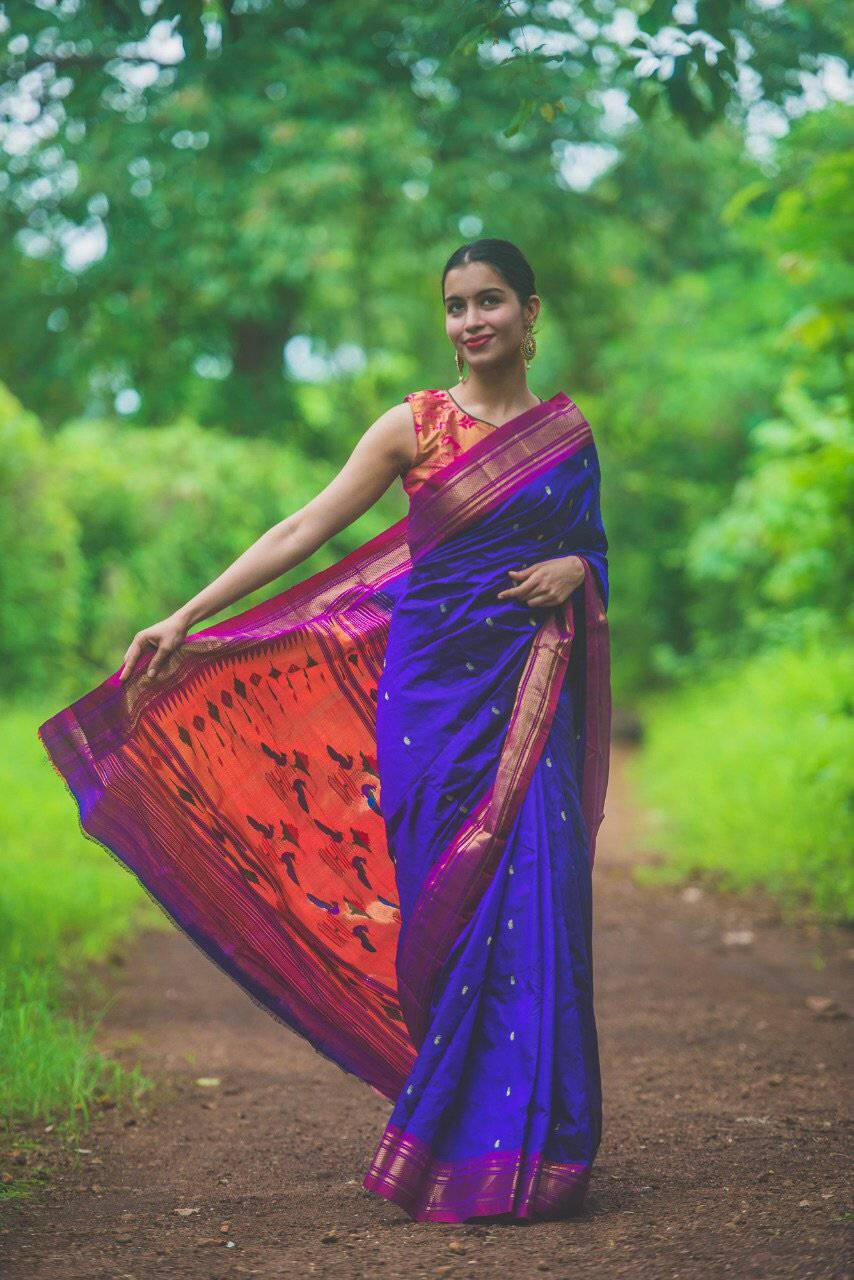 Purple handwoven paithani saree - WEAR COURAGE