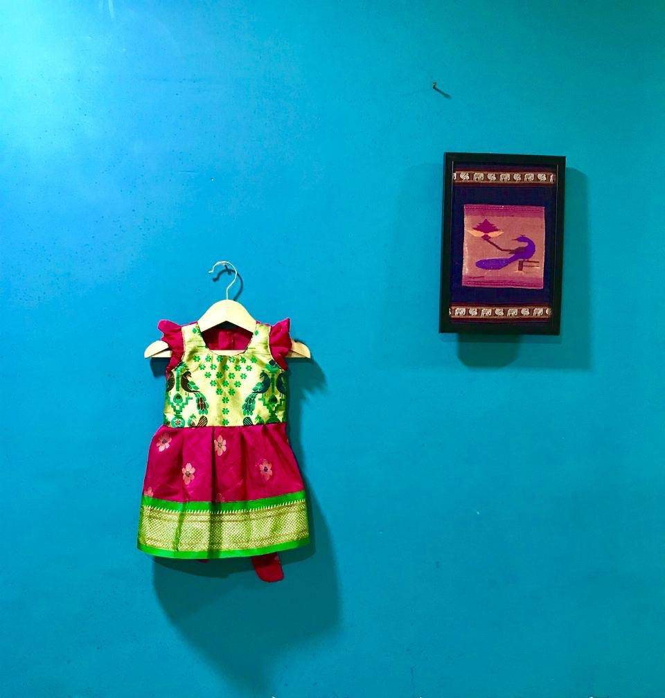 Girl's Pink Paithani frock with green and Golden border