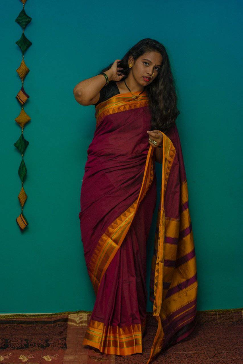 Maroon cotton silk ilkal saree