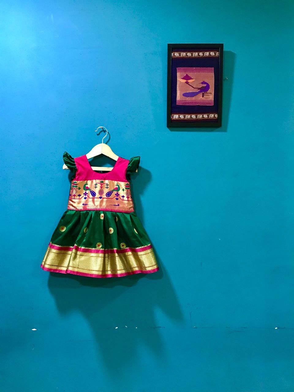and Green Paithani frock with frill sleeves