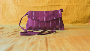 Personalised premium khunn handstich godhadi purple  sling bag - WEAR COURAGE