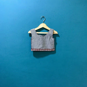 Girl's grey sleeveless khunn blouse with bow behind - WEAR COURAGE